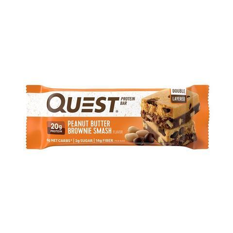 NEW! QuestBar Peanut Butter Brownie Smash (12 бат) Протеиновый Батончик двухслойный 60гр