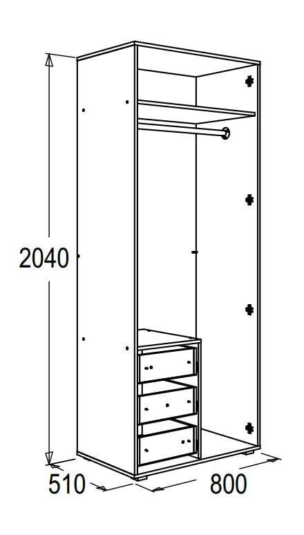 Шкаф 2-х дверный для одежды и белья