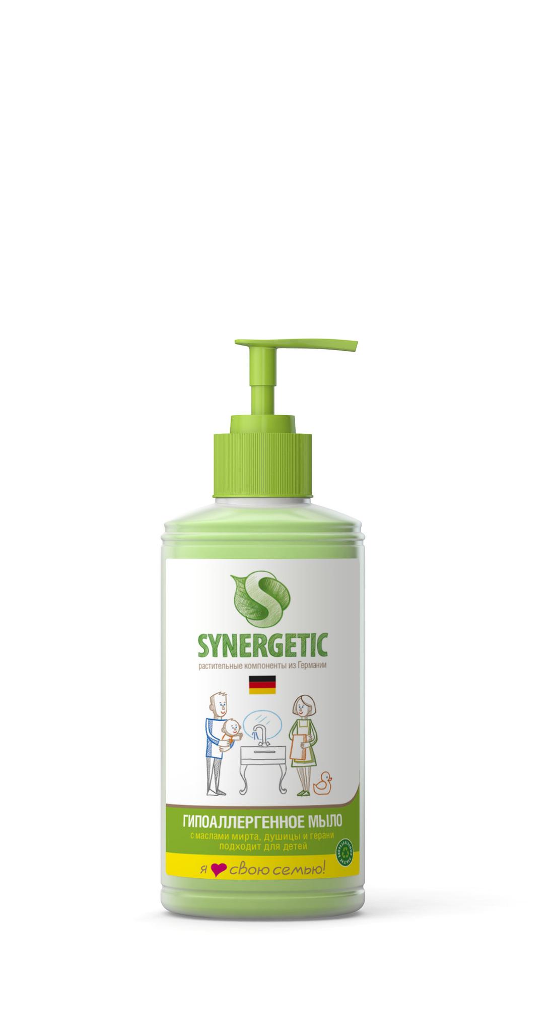 Жидкое мыло для мытья рук, флакон 0,25л дозатор (SYNERGETIC)