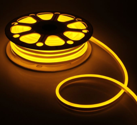Гибкий неон 8х16 мм, светодиодный | Желтый - 25м