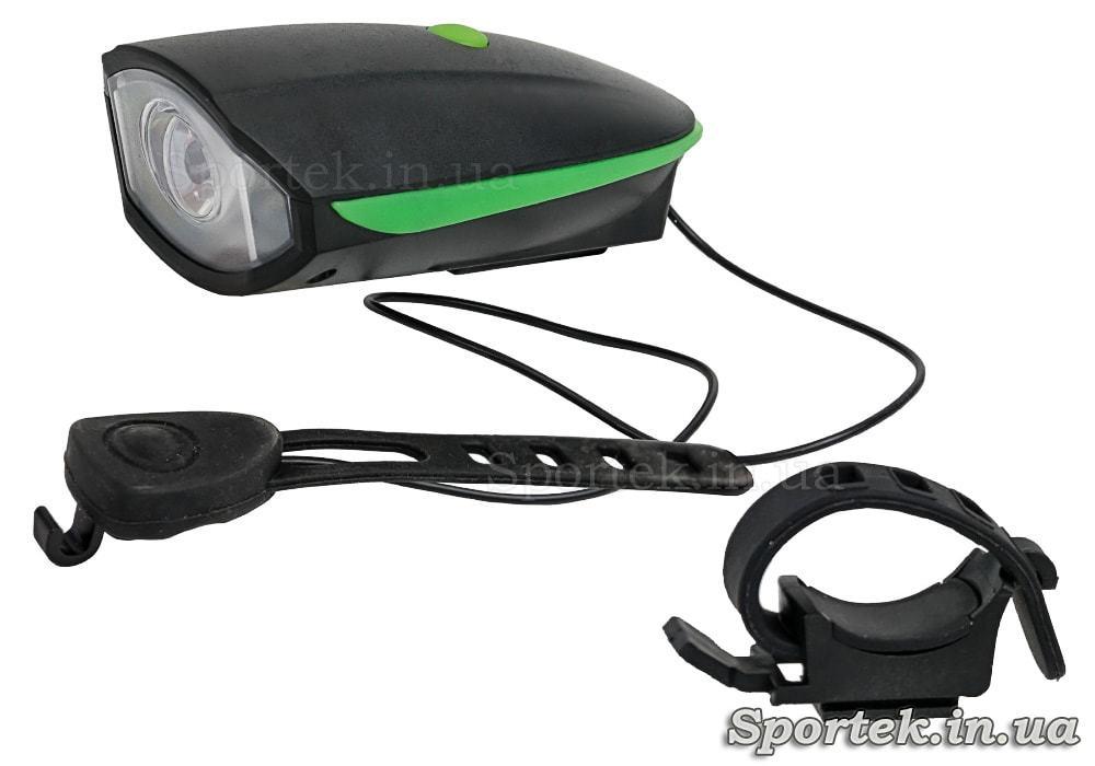 Передний трехрежимный велосипедный фонарь со звуковыми сигналами Soldier (SJ-10526)
