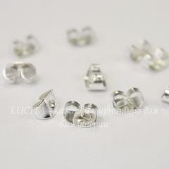 Зажим для пуссет-гвоздиков 6х4 мм (цвет - серебро), 5 пар