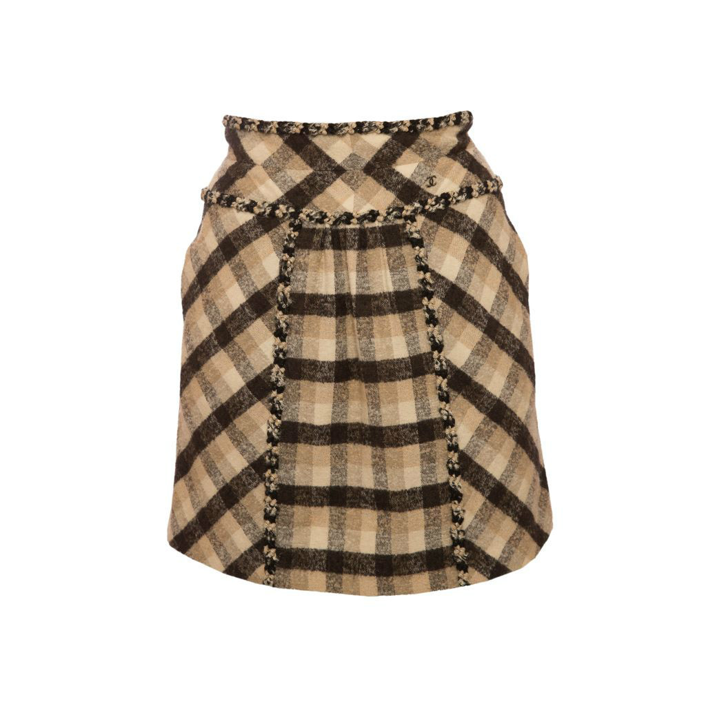 Красивая твидовая юбка в клетку от Chanel, 36 размер