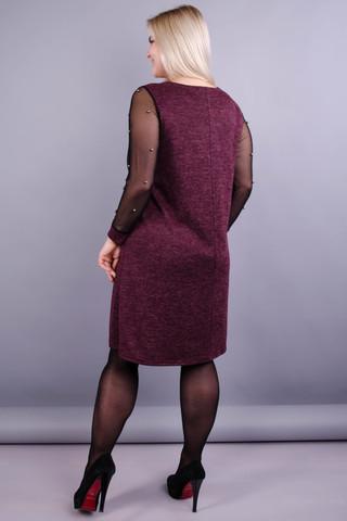 Тала. Стильна сукня для жінок великих розмірів. Бордо.
