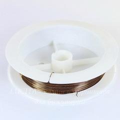 Проволока для рукоделия медная 0,3 мм, цвет - бронзовый хаки, примерно 10 метров