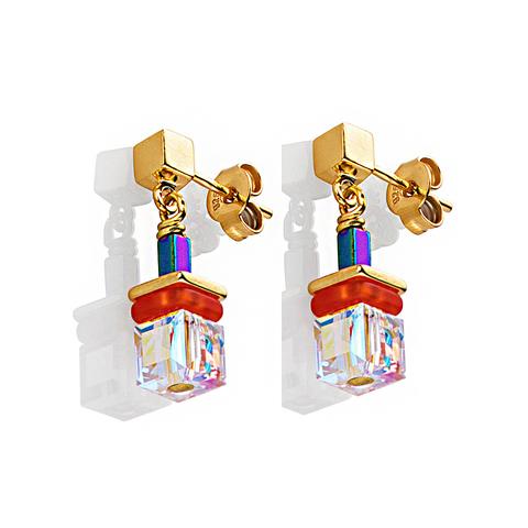 Серьги Coeur de Lion 4798/21-1500 цвет прозрачный, оранжевый, золотой