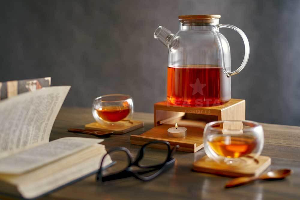 стеклянный заварочный чайник бамбук
