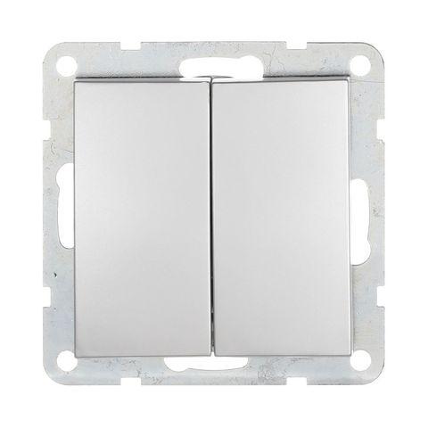 Выключатель двухклавишный, (схема 5) 16 A, 250 В~. Цвет Серебристый металлик. LK Studio LK60 (ЛК Студио ЛК60). 861103