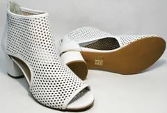 Летние женские ботинки ботильоны женские на толстом каблуке Magnolya 3503 56-3 SummerWhite
