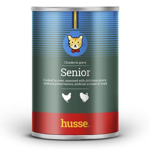 Консервы SENIOR CHICKEN-TURKEY, для пожилых кошек, 415 г, Husse