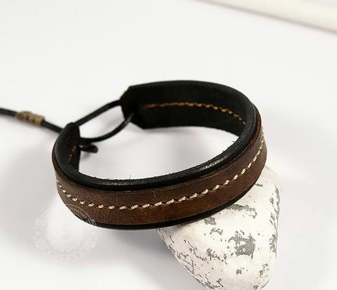 BL444-2 Кожаный мужской браслет ручной работы на затяжках