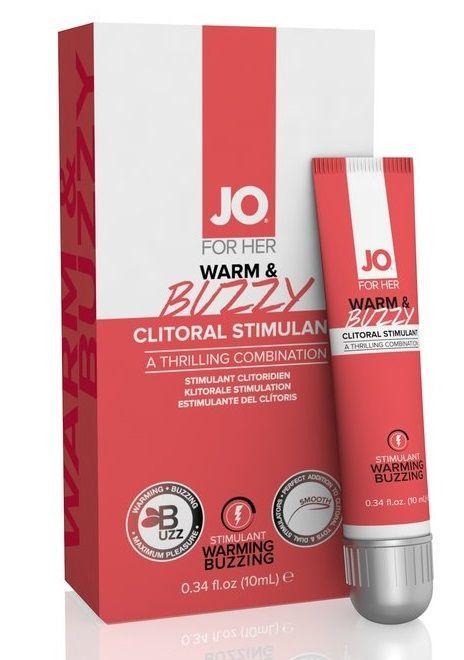 Возбуждающие: Клиторальный крем JO WARM BUZZY CLITORAL GEL - 10 мл.