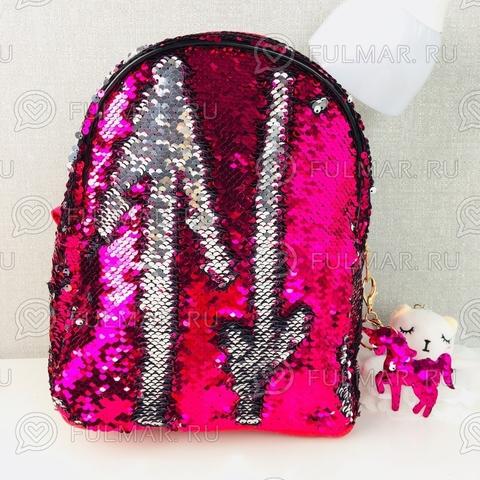 Рюкзак с двусторонними пайетками меняет цвет Фуксия-Серебристый MARGO и брелок Единорог