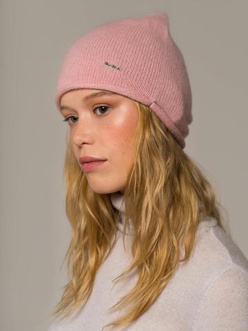 Женская светло-розовая шапка из 100% кашемира - фото 4