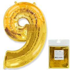 Цифра, 9, Золото, F 40''/102 см, 1 шт. в упаковке