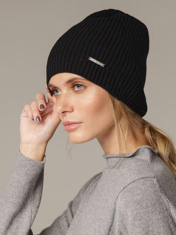 Женская черная шапка из шерсти - фото 2