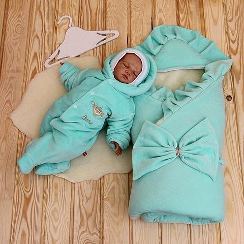 Комплект на выписку из роддома Little Baby бирюза