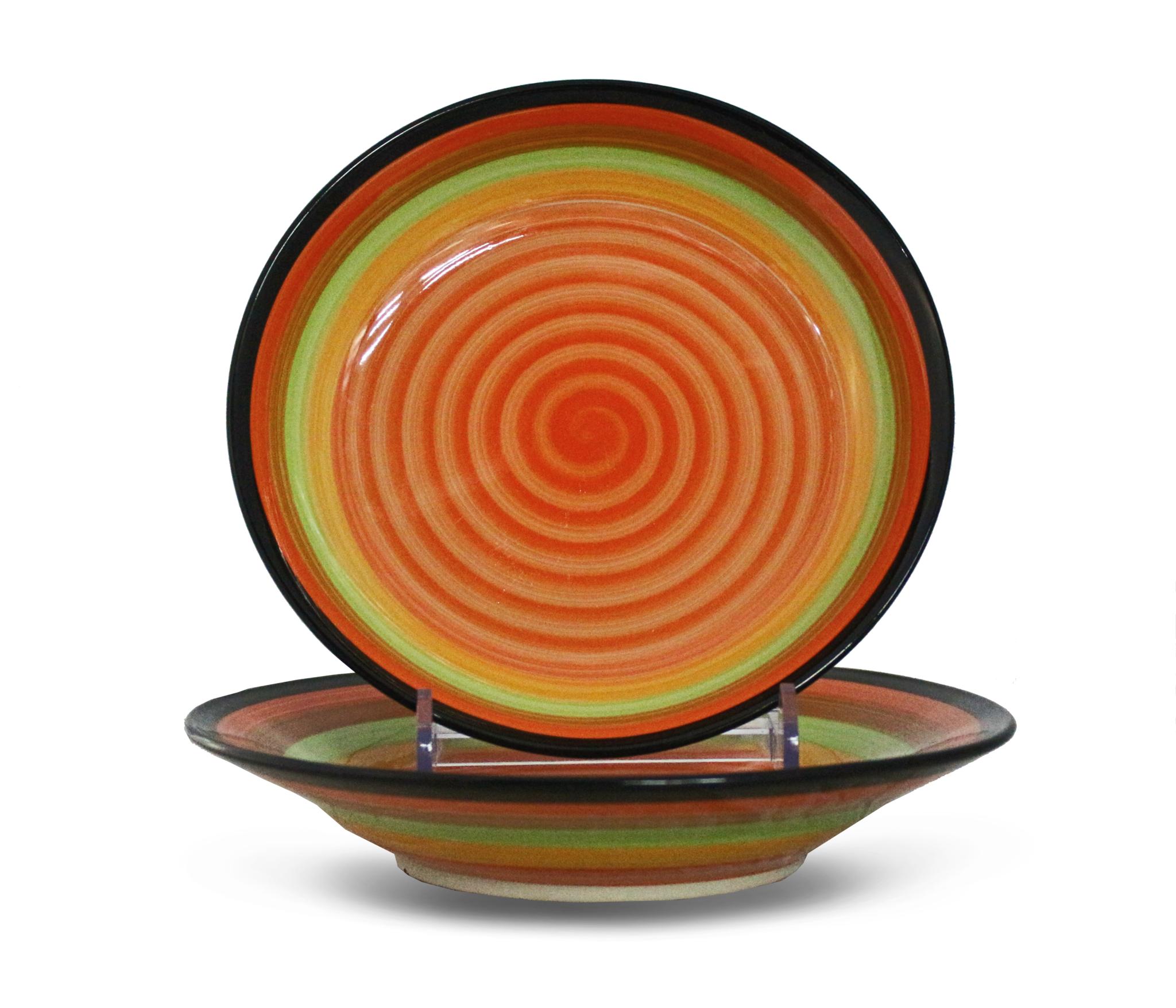 Тарелка глубокая, керамика, разноцветная, 23 см.