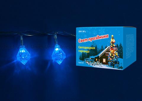 ULD-S0280-020/DTA BLUE IP20 DIAMONDS Гирлянда светодиодная «Бриллианты», с контроллером, 2,8м. 20 светодиодов. Синий свет. Провод прозрачный. TM Uniel.