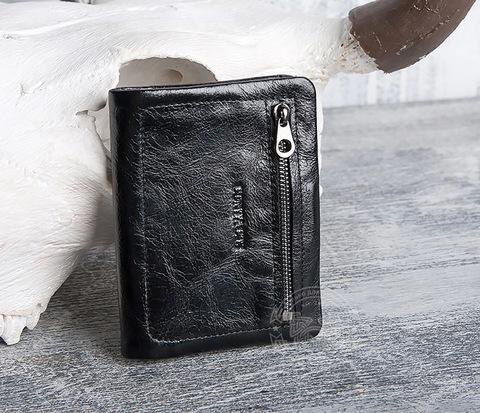 WL277-1 Оригинальный мужской кошелек из черной натуральной кожи