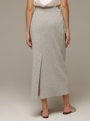 Женская серая юбка с разрезом из 100% кашемира - фото 4