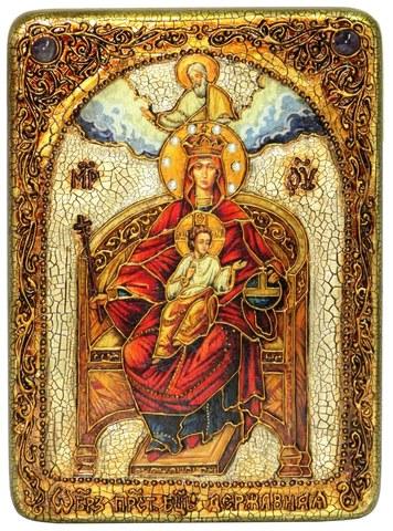 Инкрустированная икона Образ Божией Матери Державная 29х21см на натуральном дереве в подарочной коробке