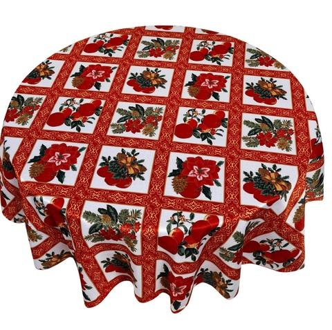 Скатерть круглая 178 Carnation Home Fashions Christmas Fabric Tablecloths Holiday Cheer