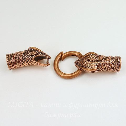 """Замок для шнура 10 мм из 3х частей """"Змея"""", 78х25 мм (цвет - античная медь)"""