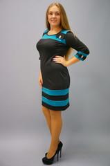 Шанель. Платья больших размеров. Черный+бирюза.