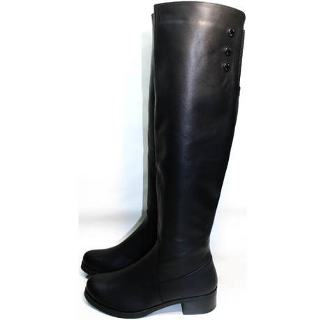 Женские сапоги зима на низком каблуке Kluchini 3913 BLEF
