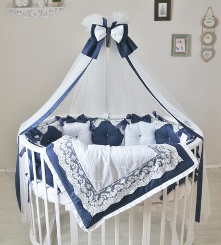 Комплект в круглую/овальную кроватки Индиго