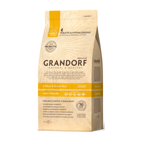 Grandorf 4Meat & Brown Rice Adult Sterilised Сухой корм для стерилизованных кошек Четыре вида мяса с бурым рисом