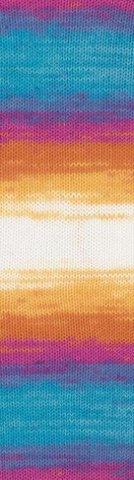 Пряжа Alize Bella Batik меланж жел-оранж-син-фиол 4538