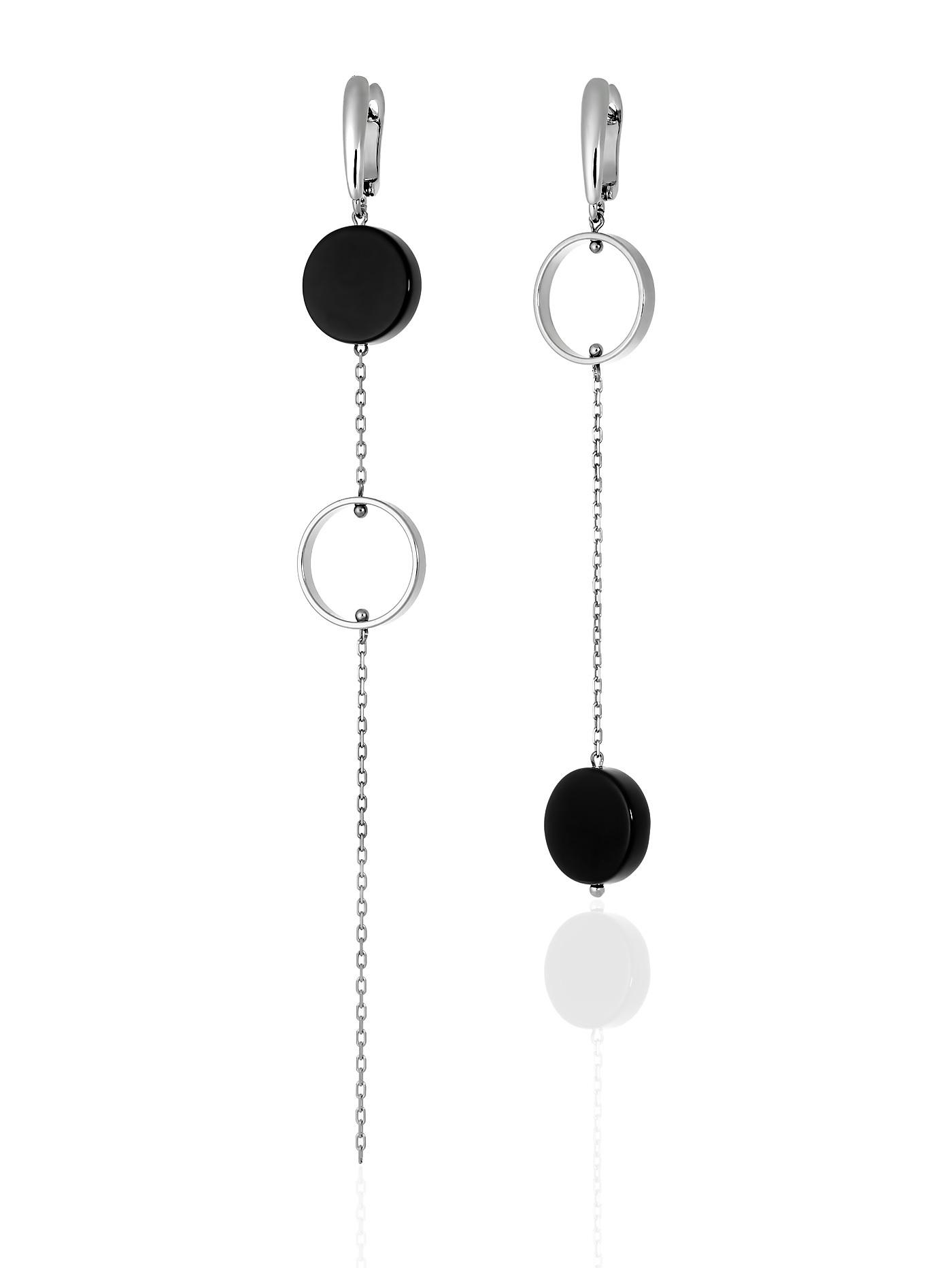 Асимметричные серьги с черным агатом