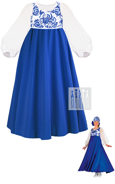 Гжель Расписная платье женское