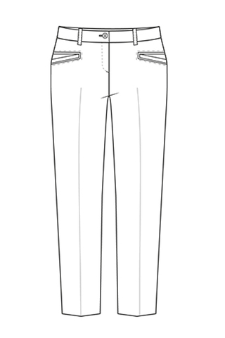 Выкройка школьных брюк для девочки с подрезами под карманы