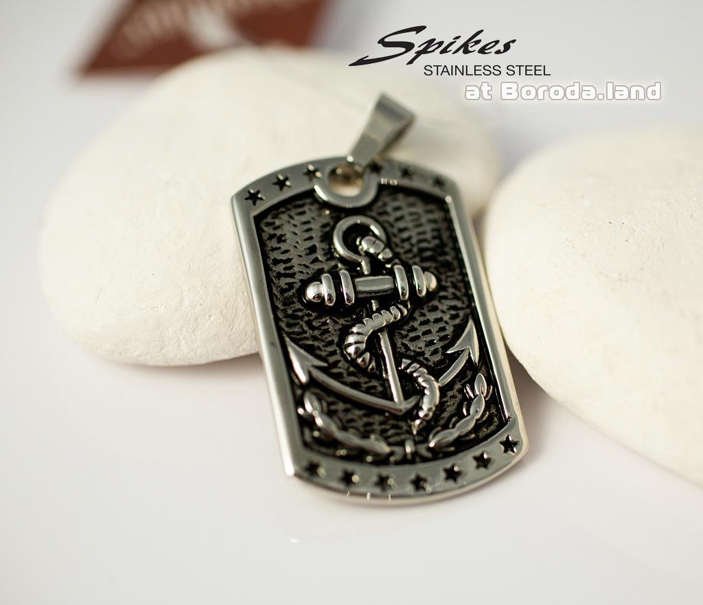 SSPH-1008 Мужская подвеска жетон с якорем из стали, «Spikes» фото 02
