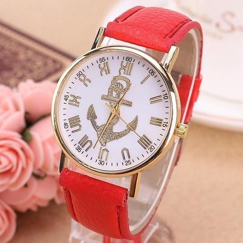 Часы в морском стиле с золотым якорем (красный)