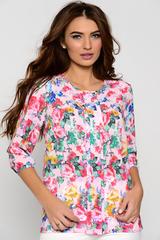 Оригинальная блузка свободного кроя. Комфортно, удобно, на каждый день. Рукав 3/4 на резинке. (Длина: 44-63 см; 46-64см; 48-65см; 50-66см)