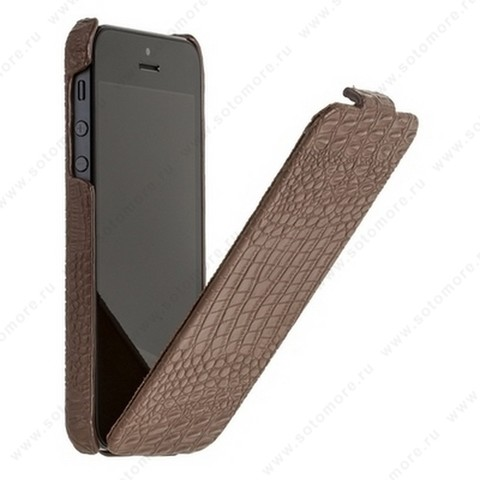 Чехол-флип Borofone для iPhone SE/ 5s/ 5C/ 5 - Borofone Crocodile flip Leather case Brown