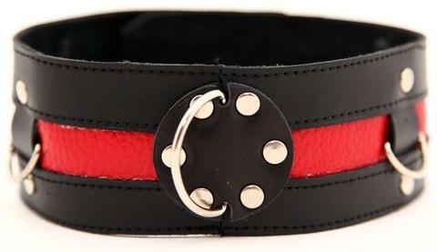 БДСМ Ошейник для девушки черный с красным (BDSM Арсенал)