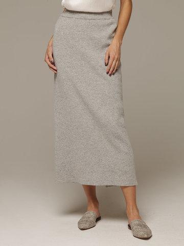 Женская серая юбка с разрезом из 100% кашемира - фото 2