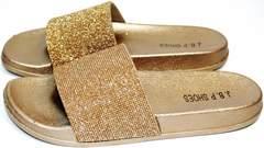 Шлепки женские летние J.B.P. Shoes NU25 Gold.