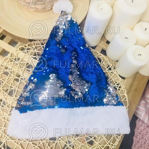 Новогодний колпак-шапка с пайетками меняет цвет Синий-Серебристый