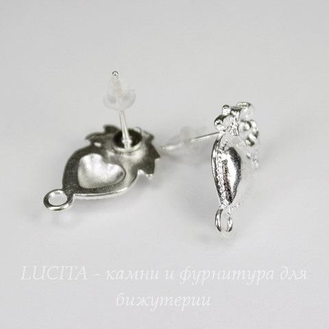 """Пуссеты - гвоздики """"Сердце с цветком"""" 18х12 мм (цвет - серебро) (с заглушками)"""