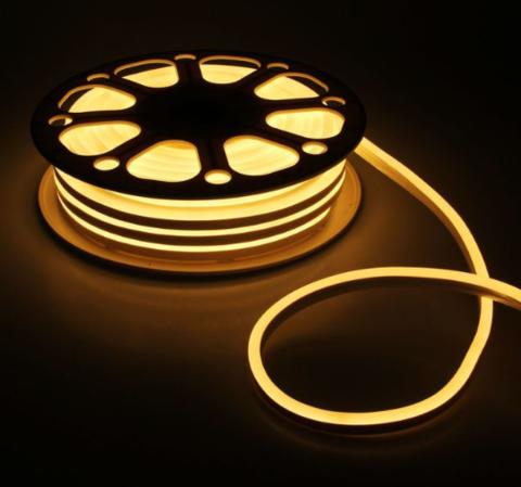 Гибкий неон 8х16 мм, светодиодный | Теплого свечения - 25м