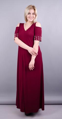 Дюшес. Вечернее платье плюс сайз. Бордо.