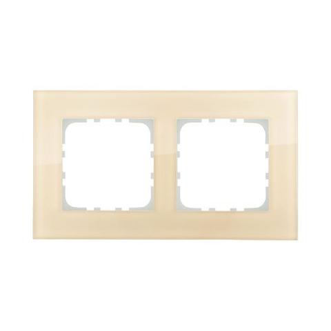 Рамка на 2 поста, натуральное стекло. Цвет Кремовый. LK Studio LK80 (ЛК Студио ЛК80). 844217-1