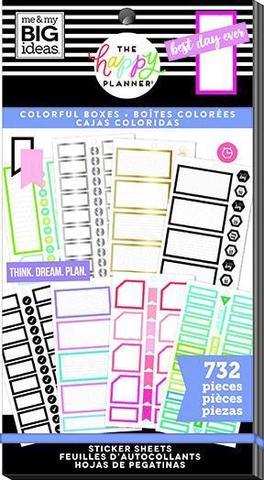 Блокнот со стикерами для ежедневника -Happy Planner Sticker Value Pack-Monthly Colorful Boxes, 732 шт