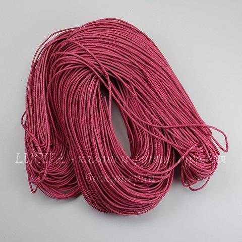 Шнур вощеный, 1 мм, цвет - розовый, примерно 80 м